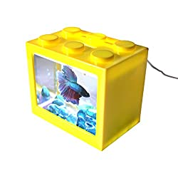 AquaticHI Nano Tank, Extra Small, Mini Desktop Aquarium / Fish Tank / Terrarium, Perfect for the Kids, Office or Home for Small Betta Fish, Shrimp, Insects and Succulents (Yellow)