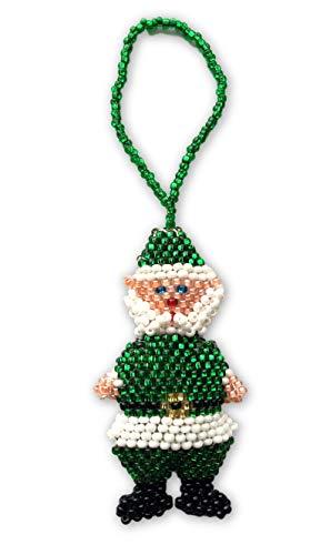 New Fair Trade Handmade Art - Mayan Arts Santa Claus, Beaded Ornamental Figurine, Assorted Colors, Gift Topper Christmas Tree Ornaments, Holiday Decoration, Handmade in Guatemala 2.25
