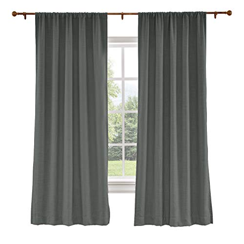 Curtain Liz (ChadMade 72W x 96L Inch Carbon Grey Linen Polyester Curtain Drapes with Blackout Lining, Rod Pocket Curtain for Sliding Glass Door Patio Door Living Room Bedroom (1 Panel) Liz Collection)