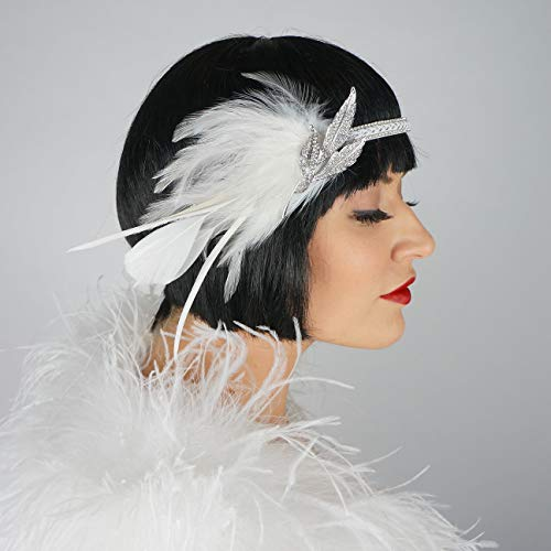 ZUCKER Roaring 20's Bridal Gatsby Feather Headband with