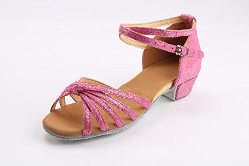 ShangYi Dance shoes, children's soft bottom shoes, children's Latin dance shoes, women's dance shoes, ballroom dance shoes, with height 3.5cm Rose