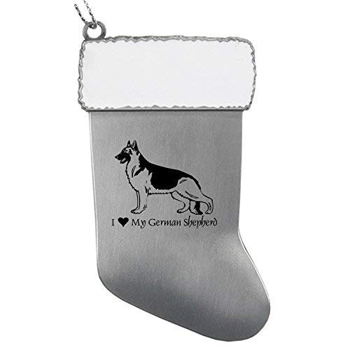 Pewter Christmas Stocking Ornament-I love my German -