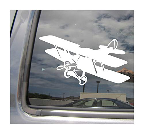 - Right Now Decals - Biplane - Fixed Wing Aircraft Aviation Pilot Wright Brothers - Cars Trucks Moped Helmet Hard Hat Auto Automotive Craft Laptop Vinyl Decal Window Wall Sticker 10237