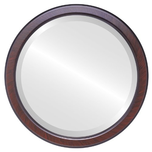 Decorative Mirror for Wall | Framed Round Beveled Wall Mirror | Toronto Style - Vintage Cherry - 26x26 outside dimensions Cherry Heirloom Vanity