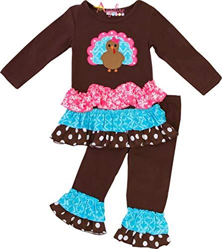 Little Girls Fall Colors Thanksgiving Turkey Pink Turquoise Legging Set 4T/M -