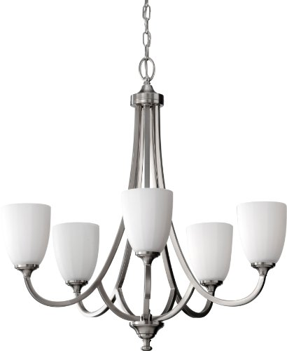 Feiss F2584/5BS Perry Glass Chandelier Lighting, Satin Nickel, 5-Light (26