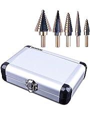 5PCS HSS Cobalt Titanium Step Drill Bit Set Tools, High Speed Steel Total 50 Sizes with Aluminum Case