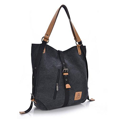 Women Shoulder Bag, Fashion Backpack, Multifunctional Canvas Handbag, Casual Rucksack, Black by ZenithLife