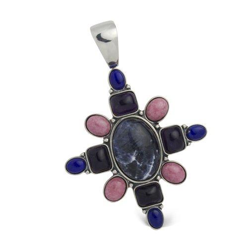 Carolyn Pollack Sterling Silver Multi Gemstone Evening Star Cross Enhancer Lapis Enhancer Pendant