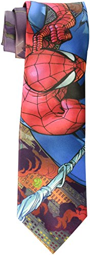 Marvel Men's Burning City Spider Man Tie, Red, One Size