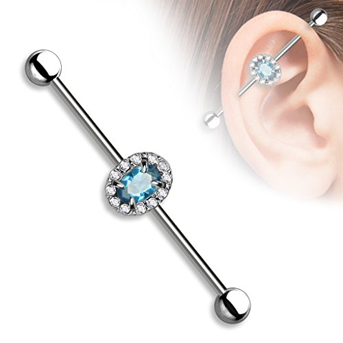 Pierced Owl Aqua Oval CZ Center Vintage Antique Style Setting Industrial Barbell 1-1/2