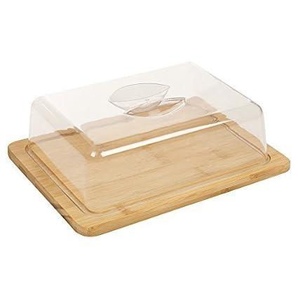 Bandeja de queso hecha de bambú, con tapa de acrílico y compartimentos de almacenamiento.