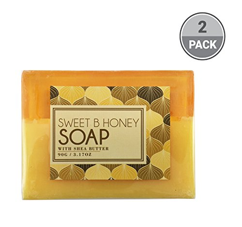 BeautyFrizz Natural Honey Soap Bar | Gentle Moisturizing Body Soap with Olive Oil & Cocoa Butter | Hydrating Soap to Cleanse and Brighten Skin | Scented Soap for Women (2 Pack)