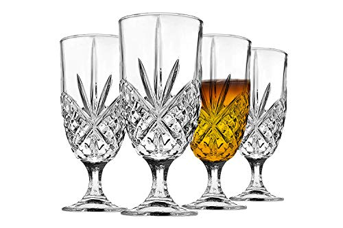James Scott Iced Beverage Glasses set of 4 - Exquisite 16 oz. Lead-Free for Iced Drinks, Cocktail, Water, Juice, Beer, Wine, Whiskey, etc.   Irish Cut Design (Glasses Water Wine And)