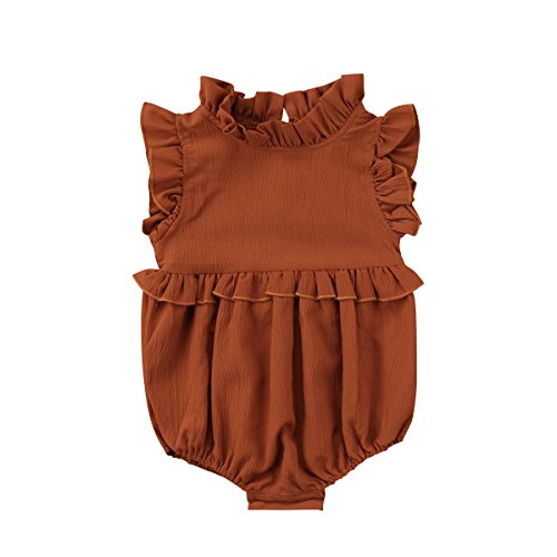 (YOUNGER TREE Toddler Baby Girl Ruffled Collar Sleeveless Romper Jumpsuit Clothes (Brown, 100(18-24 Months)))