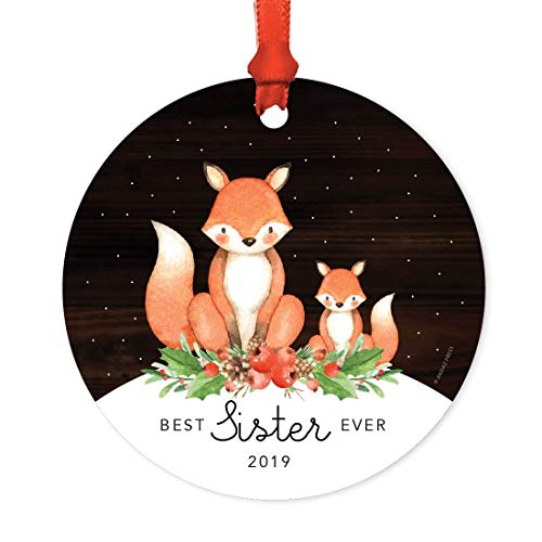 Andaz Press Metal Christmas Ornament, Best Sister Ever 2019, Watercolor Fox in Snow, 1-Pack, Includes Ribbon and Gift Bag