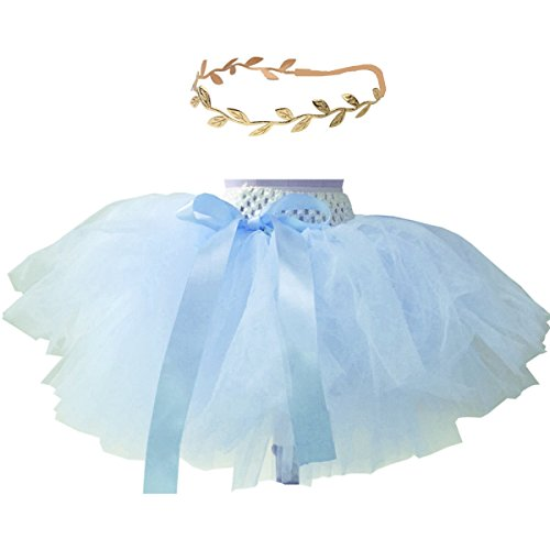 BBVESTIDO Baby Girls Tutu Skirt with Gold Tulle and Headdress for 1st Party (Blue with Gold)