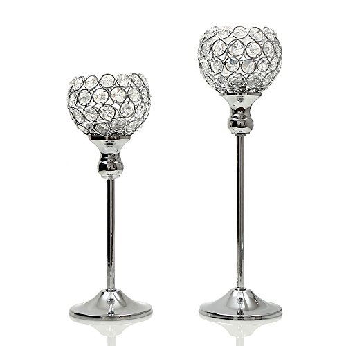 VINCIGANT Sparklers Crystal Candle Holders Pillars for Wedding Party Centerpieces Decoration Set of 2 Holiday Gifts