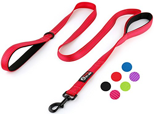 Primal Pet Gear Dog Leash 6ft Long – Traffic Padded Two Handle – Heavy Duty – Double Handles Lead for Control Safety Training – Leads for Large Dogs or Medium Dogs – Dual Handles Leashes (Red)