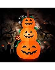 Gejoy 4 Feet Halloween Inflatable 3 Stack Pumpkin Halloween Blow Up Decorative Pumpkin Inflatable Outdoor Halloween Decoration for Holiday Family Home Yard Party
