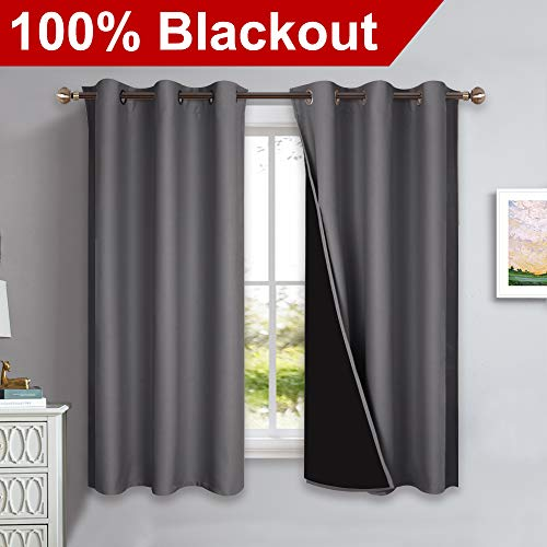 NICETOWN 100% Blackout Curtains with Black Liners, Solid Thermal Insulated Full Blackout 2-Layer Lined Drapes, Energy Efficiency Window Draperies for Bedroom (2 Panels, 42