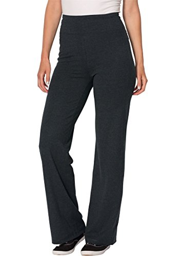 Stretch Knit Wide Leg Pants (Woman Within Women's Plus Size Casual Stretch Knit Full Wide-Leg Pants Heather Charcoal,M)