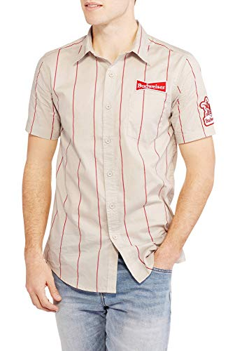 Coca-Cola Budweiser Stripe Graphic Button Down Short Sleeve Work Shirt (Small)