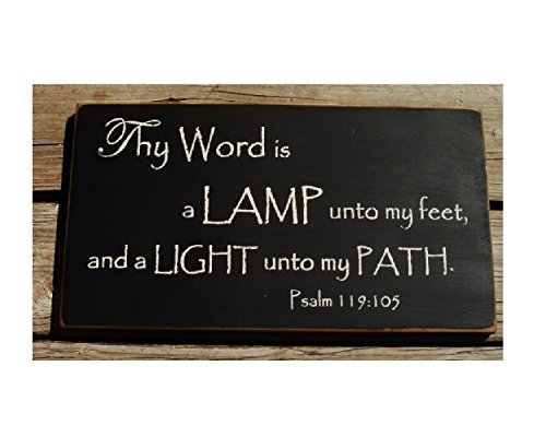 Thy Word is A Lamp Unto My Feet and A Light Unto My Path Primitive Wood Hanging Sign (Lamp Unto My Feet Light Unto My Path)