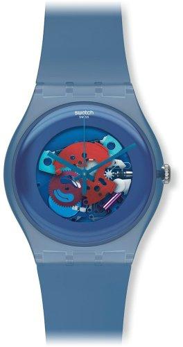 Swatch Unisex SUON102 Quartz Plastic Skeletal Blue Dial Watch