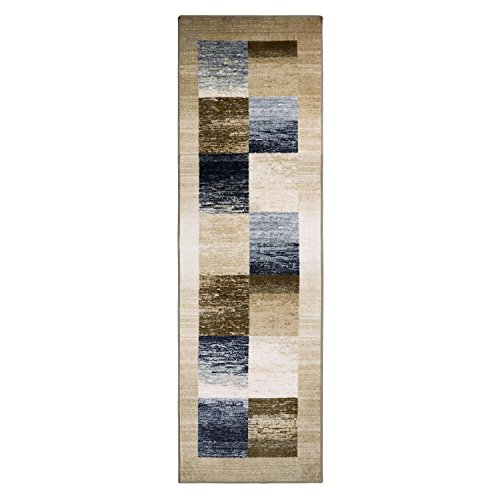 Blue Nile Mills Digitally Printed, Low Maintenance, Affordable and Fashionable, Non-Slip Lockwood Rug Runner, 2'6'x8', Cream