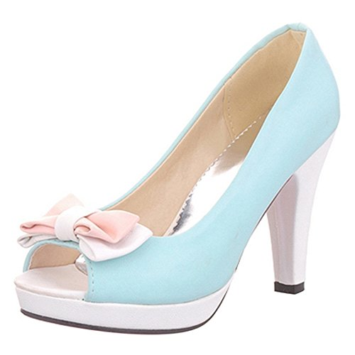 Shoes TAOFFEN High With Toe Peep Women Elegant Blue Bowknot Heel Platform Sandals Pumps CrTCzqHZ