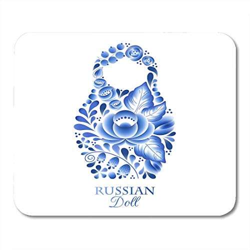 Mouse Pads Babushka Blue Souvenir Russian Nesting Doll Matrioshka Gzhel Style Symbol of Russia White Abstract Mouse Pad for notebooks,Desktop Computers mats Office Supplies