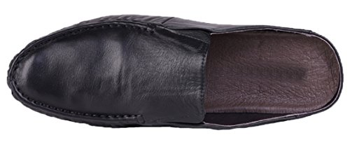 Shoes Santimon Mens Black Backless Scuff Leather Slippers qEEXrw