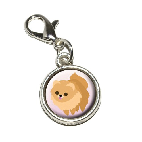 (Graphics and More Pomeranian Golden Pink Dog Pet Antiqued Bracelet Pendant Zipper Pull Charm with Lobster Clasp)