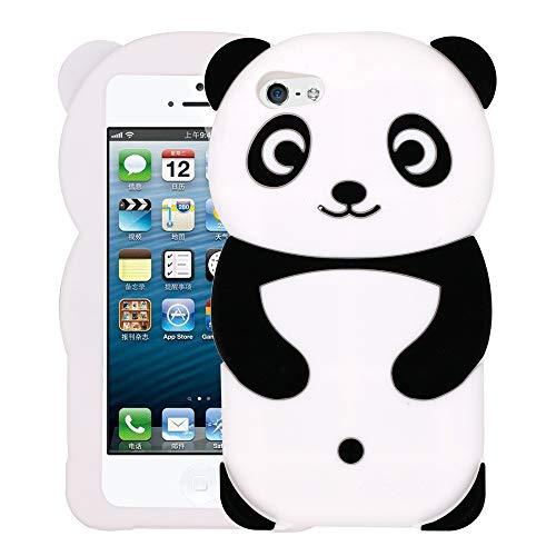 iPhone 5 Case, iPhone 5S Case, iPhone SE Case, Fashion Cute 3D Cartoon Panda Shaped Soft Silicone Gel Rubber Bumper Case Cover for iPhone 5 / 5S / 5C / SE (Panda)