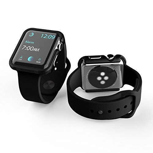 38mm Apple Watch Case, X-Doria Defense Edge Premium Aluminum & TPU Bumper Frame (Black on Black) - Compatible with 38mm Apple Watch