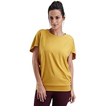 Proyog Yellow Cotton Round Neck T-Shirt For Women