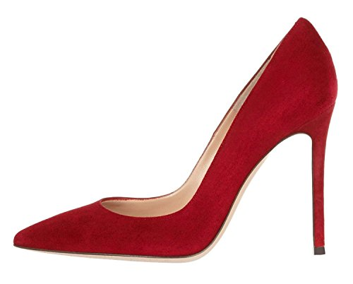 Stiletto ELASHE Closed Heels Heel High High Pumps DressCourt Red Pumps Women's Pointed Toe 0wOwIqr