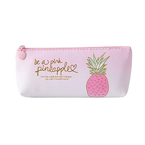Clearance Sale!DEESEE(TM)Pink Pineapple Pencil Case Cosmetic Bag Makeup Pouch Pencils Box (B) -