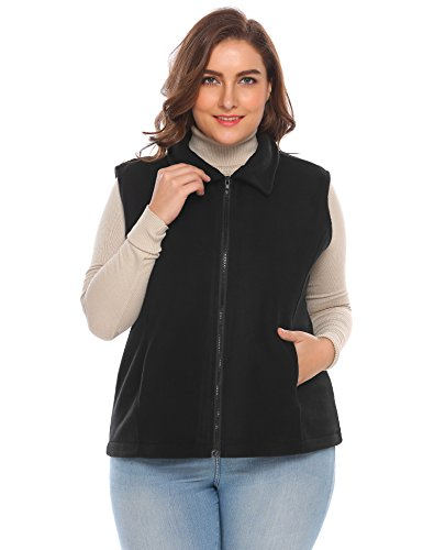 Mountain Anorak - Zeagoo Women's Plus Size Mountain Fleece Vest Outdoor Windproof Hiking Vest with Pockets