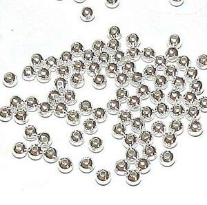 (MB628 Silver 3mm Smooth Round Plated Brass Metal Spacer Beads 100pc Making Beading Beaded Necklaces Yoga Bracelets )
