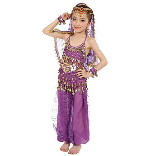 Maylong Girls Lantern Pants Belly Dance Outfit School Halloween Costume DW10 (Medium, Purple) -