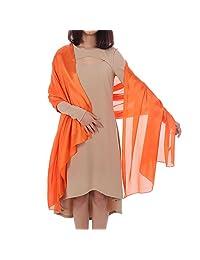 Tanpell Women's Scarfs Silky Bridal Evening Shawl Cascul Scarves Wraps Orange Red