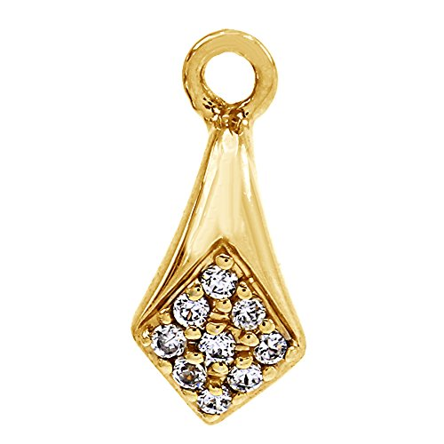 Round Cut White Cubic Zirconia Interchangeable Hanger Pendant In 14K Yellow Gold Over Brass (0.14 Cttw) (Interchangeable Pendant Hanger)