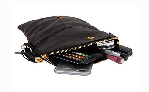 """SLIN GBAG """"Shakira Clutch/bolso de mano/bolso de cuero auténtico/Selección de Colores azul oscuro"""
