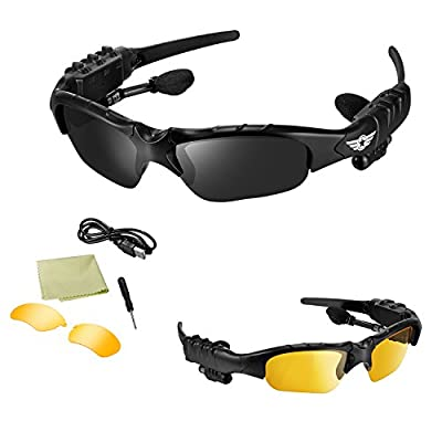 [Best Cycling Bluetooth Sunglasses] BlueLotus® Hifi Stereo Bluetooth 4.1 Sunglasses (Polarized Black+Yellow Lens) Headset, MP3 Glasses Supports Music, Handfree Calls, Camera Shutter Remote