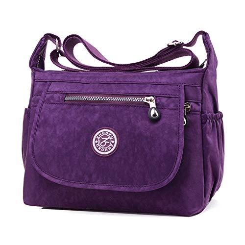 Impermeable Sac femme Violet bandoulière Clotty Multi Messenger 1 Sac 3 Nylon poches Noir en HWn40
