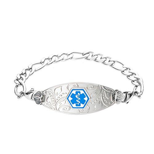 - Divoti Deep Custom Laser Engraved Lovely Filigree Medical Alert Bracelet -Stainless Figaro-Light Blue-6.5