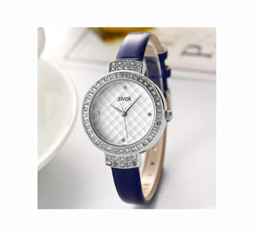 Zivok Women Watch Waterproof Quartz Female Watch with Leather Band Diamond-mounting Dial Wristwatch for Women 8011,Blue
