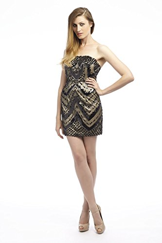 Kleid amp; Black Dynasty 1072406 Schwarz Women's Cocktail Nude Trägerloses xCvvqwgUca